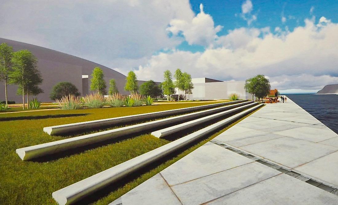 Foro Ribadesella diseña un Campu les Rolles ajardinado y con 386 plazas de aparcamiento ocultas a la vista