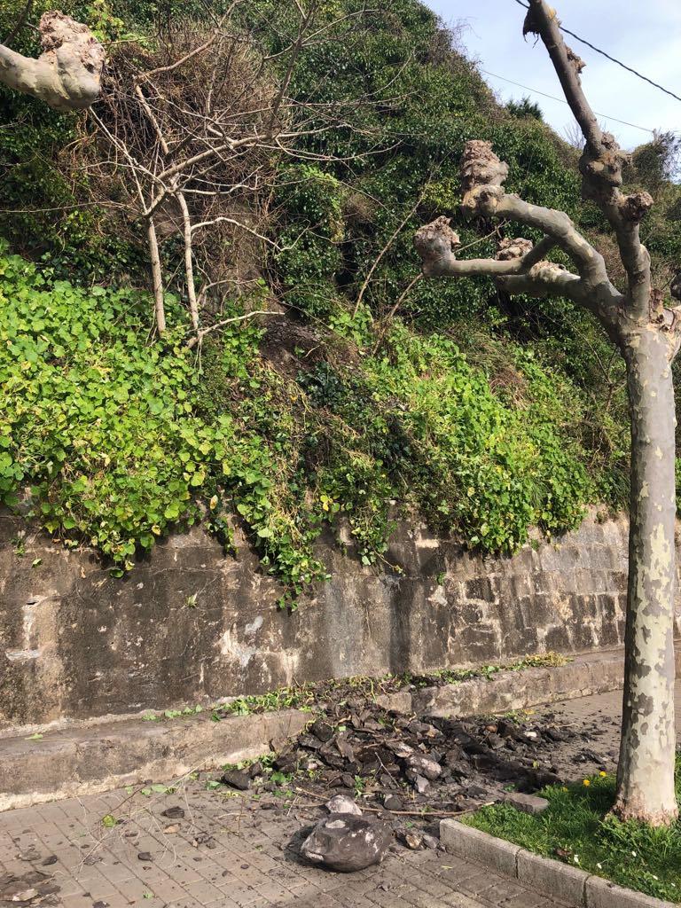 Un pequeño argayu en el Paseo de la Grúa de Ribadesella