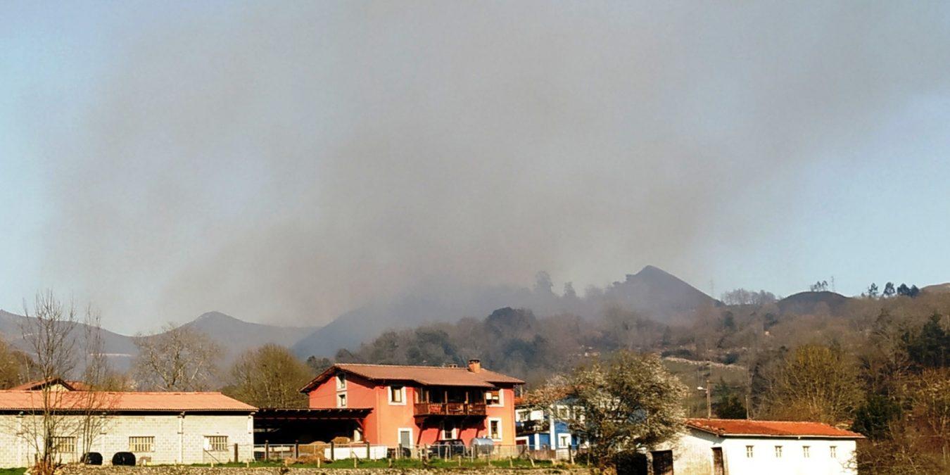 Al menos cuatro incendios forestales están activos en el oriente de Asturias