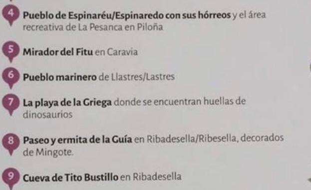 Un folleto turístico del Principado sitúa el Mirador del Fitu en el concejo de Caravia