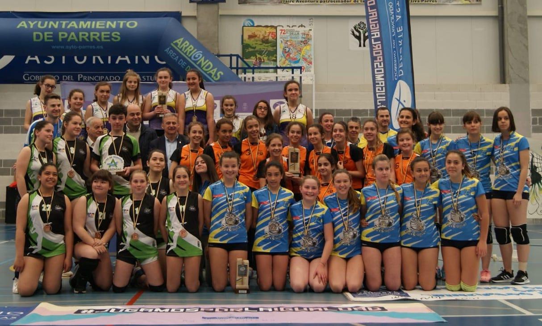 El equipo Infantil Femenino de voleibol de la AD Parres se proclama Campeón de Asturias