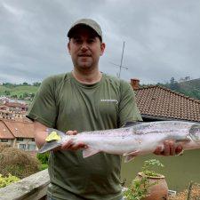 El río Sella vive un viernes propicio para la pesca de salmones