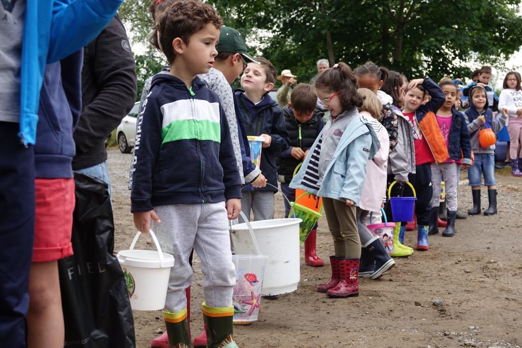 El Esmerillón inicia la campaña de repoblación en el río Sella con los escolares de Arriondas