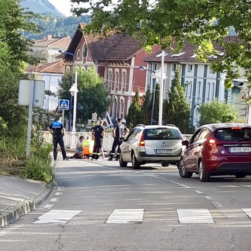 Accidente de un ciclista en Ribadesella