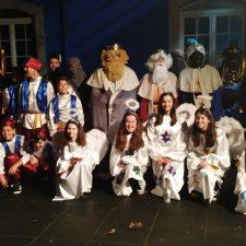 Angeles, gaiteros y caballos en la Cabalgata de Reyes de Benia de Onís