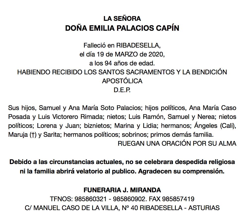 Fallece Emilia Palacios, viuda de Ramonín, matriarca de una saga de comerciantes de Ribadesella