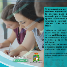 El Ayuntamiento de Parres facilita espacios y equipos informáticos para los exámenes online de sus estudiantes