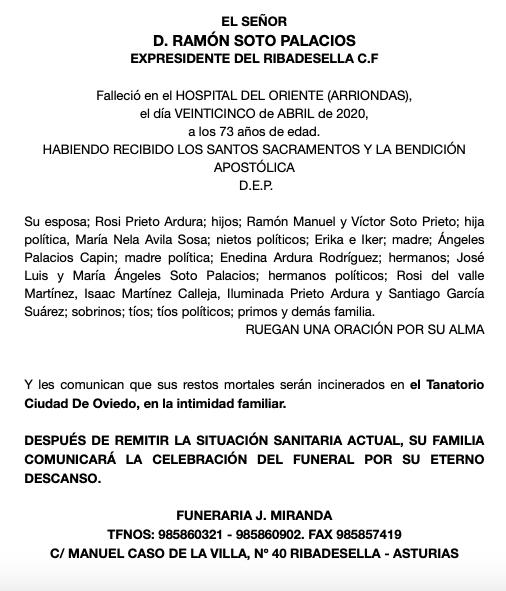 Fallece Ramón Soto, el histórico presidente del Ribadesella CF
