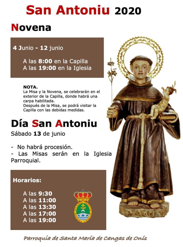 A las ocho de la mañana comenzaron las novenas de San Antoniu en Cangas de Onís