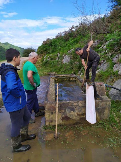 Ganaderos de Onís se unen en sextaferia para limpiar cunetas y bebederos
