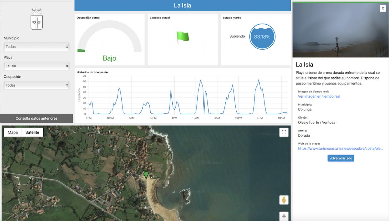 La web asturiana que informa sobre el aforo y estado de las playas ya está operativa