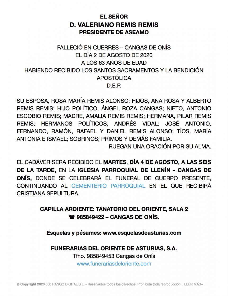 Fallece a los 63 años de edad Valeriano Remis, ganadero de Cangas de Onís y presidente de ASEAMO