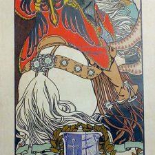 Un cartel de las fiestas de verano de 1908 en Ribadesella entre las piezas que expone la Biblioteca de Asturias