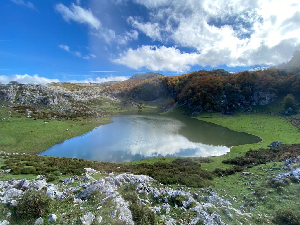 El tercero de los lagos de Covadonga, El Bricial, rebrota de su kárstico suelo con las últimas lluvias