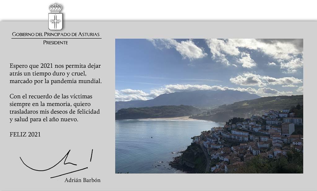 El Presidente del Principado se asoma a Lastres para felicitar el Año Nuevo a todos los asturianos