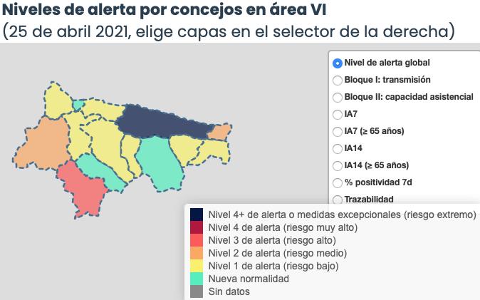 Cuatro municipios del Oriente de Asturias empeoran su situación epidemiológica
