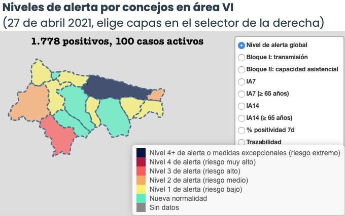 El coronavirus deja 5 nuevos positivos en el Oriente de Asturias, pero solo un municipio empeora su situación