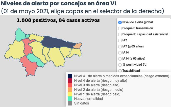 Mayo comienza con 8 contagios y otro municipio en riesgo alto en el Oriente de Asturias