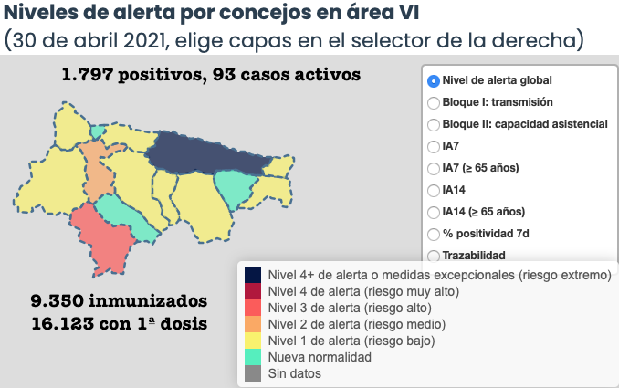 Nueve últimos casos elevan a 198 los contagios registrados en abril en el Oriente de Asturias