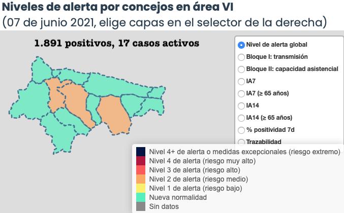 El coronavirus repunta en el Oriente de Asturias con 5 nuevos contagios registrados el lunes